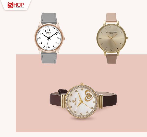 Ngoài công dụng xem giờ,đồng hồcòntô điểm sự sang trọng cho phái nữ. Với chất liệu dây dạ, đồng hồ mặt tròn đính đá sẽ dễ dàng lấy lòng các tín đồ thời trang.