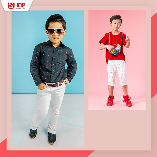 Không chỉ với bố mẹ, thời trang cho bé cũng ngày càng đa dạng hơn. Bé trai có thể dện quần jeans kết hợpdenim hoặc sơmicá tính hoặc áo phông với quần ngố.Thời điểm giao mùa,thời trang cho bécần mix thêm áo khoác nhẹ để giữsức khỏe.