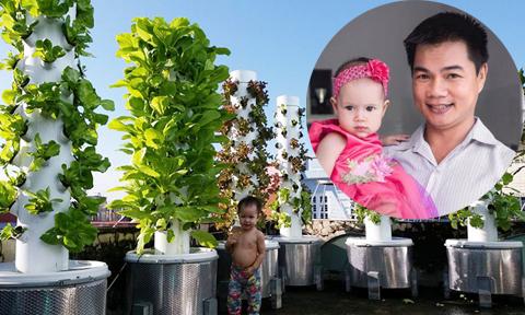 Ông bố kỹ sư tự chế tháp trồng rau kết hợp bể cá trên sân thượng