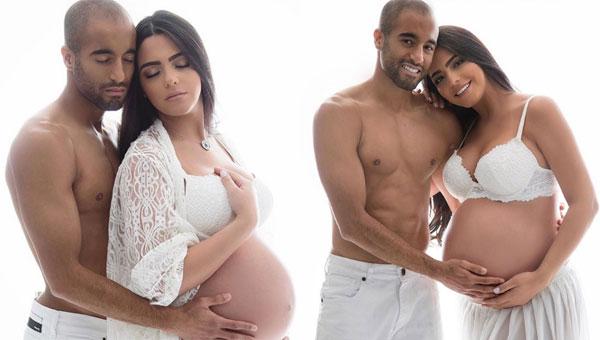Trước khi sinh bé Miguel, Larissa Saad và Lucas Moura thực hiện bộ ảnh gợi cảm khoe bụng bầu.