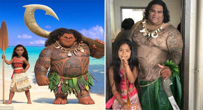 William ngoài đời (bìatrái) có nhiều nét tương đồng với á thần Maui (bìaphải) trong Moana.