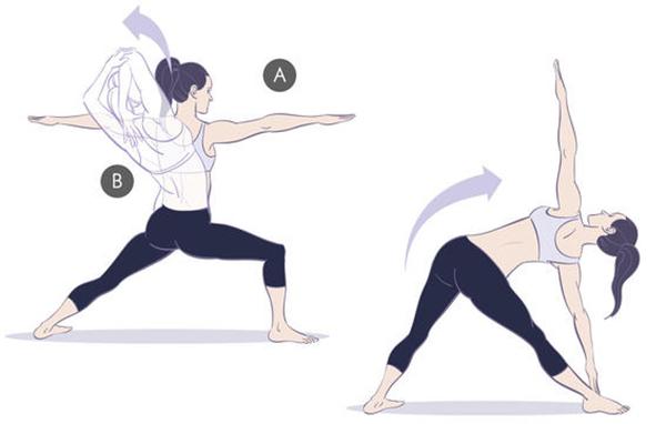 Chuẩn bị ở tư thế đứng nghiêng trọng tâm sang một bên, chân còn lại duỗi thẳng, hai tay đưa ngang vai. Gập tay về phía vai