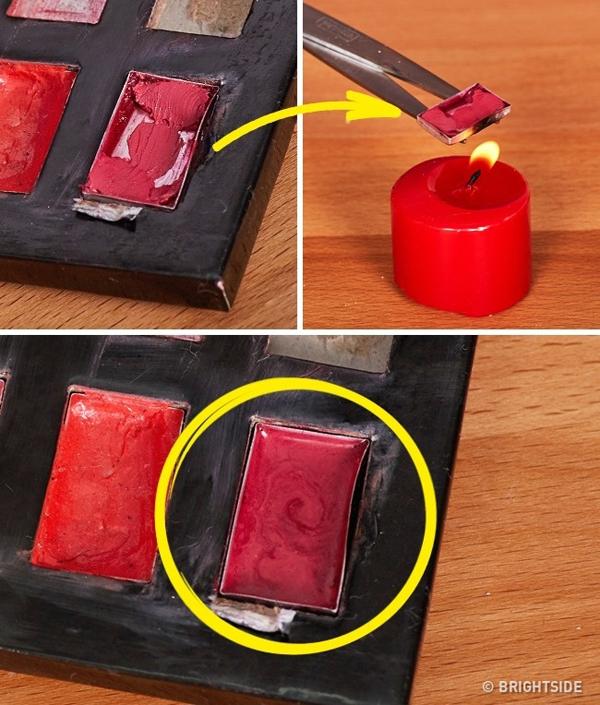 Khi màu son yêu thích sắp hết, bạn có thể hơ lửa cho son nóng chảy ra và sử dụng nốt phần còn lại.