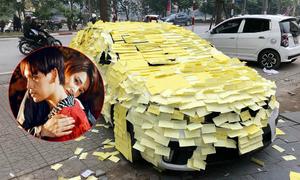 Sau khi hôn Nhã Phương trên MV, Trung Quân bị fan dán giấy kín ôtô trách móc