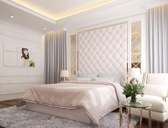 Phòng ngủ của nữ diễn viên mang phong cách ấm cúng, sang trọng.