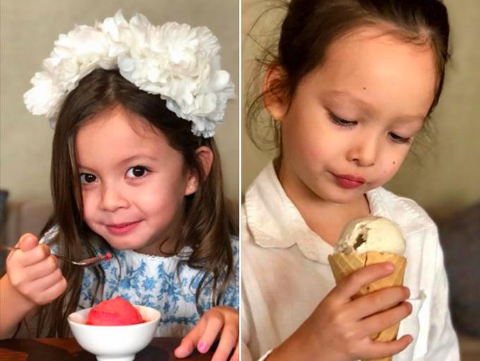 Hai bé Tôm Tép nhà Hồng Nhung thưởng thức kem theo hai cách riêng biệt. Hồng Nhung cho biết, bé Tép lựa chọn theo màu kem còn bé Tôm