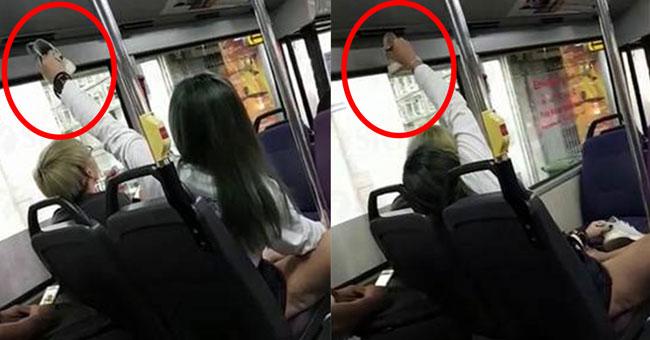 Cô gái giơ giày lên chỗ điều hòa ngay trên đầu bạn trai.