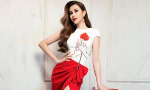 Trang phục đi tiệc với tông trắng đỏ hợp mốt