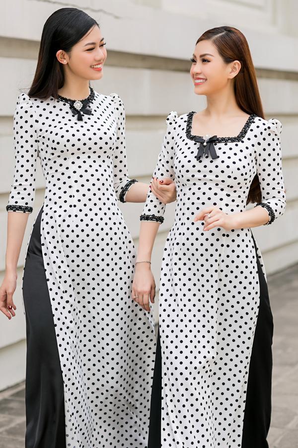 Áo dài chấm bi đan xen phong cách trang phục truyền thống và cảm hứng retro cũng được giới thiệu trong bộ sưu tập này.