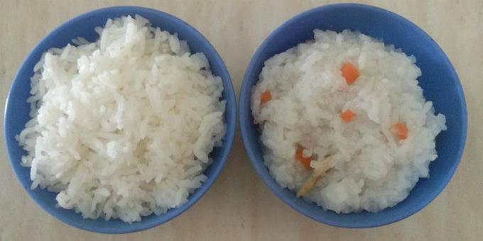 Cơm cho người lớn và cháo cho trẻ được nấu chung trong một nồi.