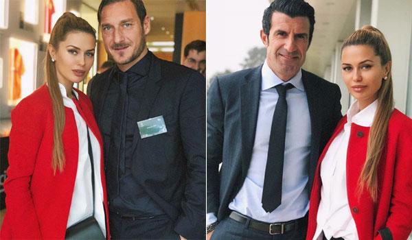 Người đẹp Nga bên hai cựu danh thủ Figo và Totti.