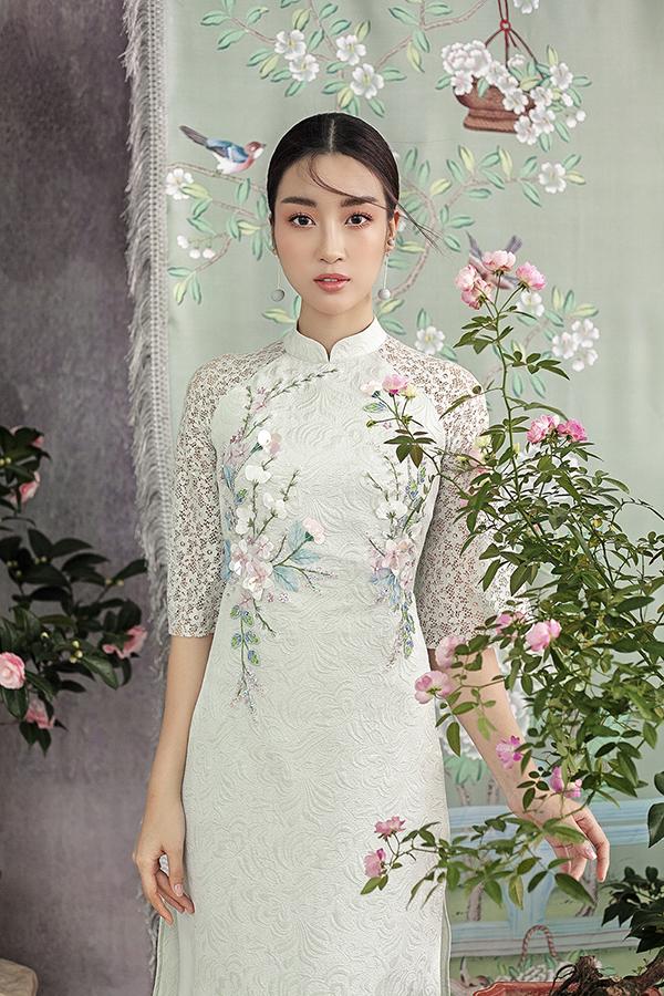 Đỗ Mỹ Linh gợi ý chọn áo dài thêu hoa mặc Tết