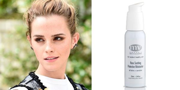 Emma Watson tiết lộ cô thích sử dụng kem dưỡng da MV Organics Rose Soothing & Protective Moisturiser nhất.