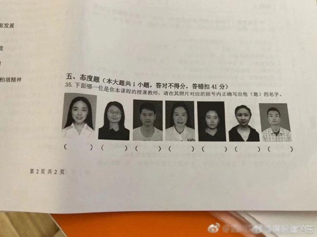Ảnh của các thầy cô được in trong bài thi để sinh viên điền tên.