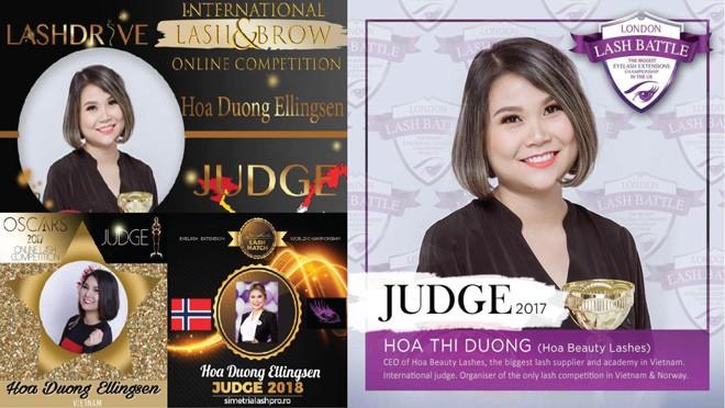 CEO Hoa Duong Ellingsen được mời làm giám khảo các cuộc thi nối mi quốc tế.