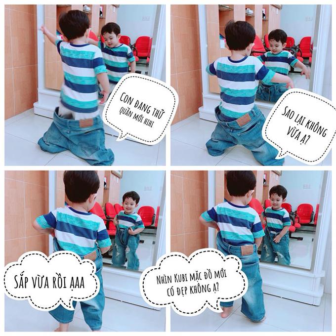 Kubi lấy trộm quần của bố Hiển để mặc thử.