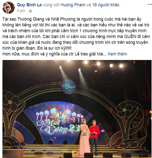 Dòng chia sẻ của MC Quý Bình đang nhân được nhiều sự quan tâm trong cộng đồng.