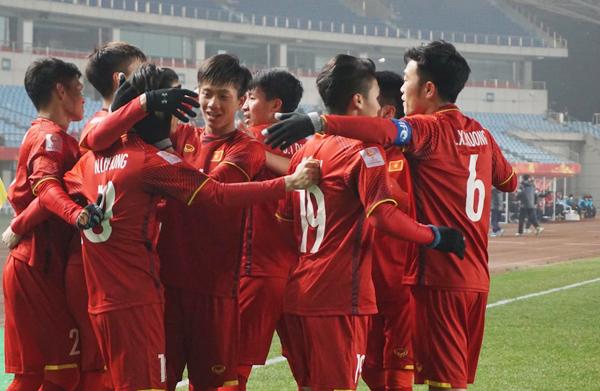 U23 Việt Nam thi đấu quả cảm và giành chiến thắng xứng đáng trước Iraq. Ảnh: VnExpress.