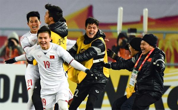 U23 Việt Nam mừng chiến thắng. Ảnh: AFC.