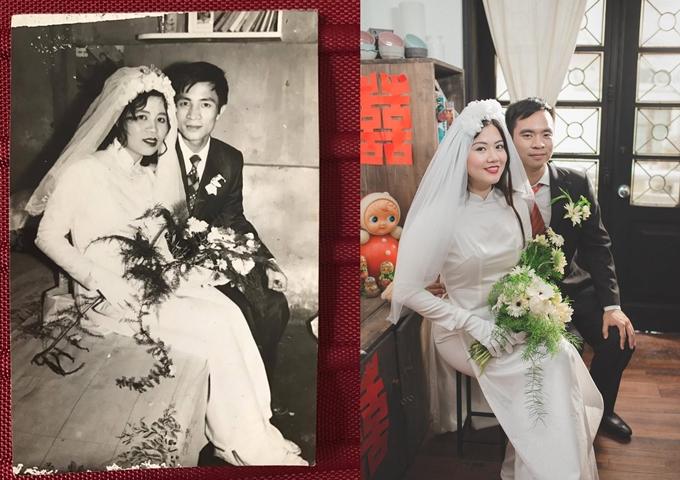 Vân Khanh và Anh Đức tái hiện lại cuốn album ảnh cưới của bố mẹ.