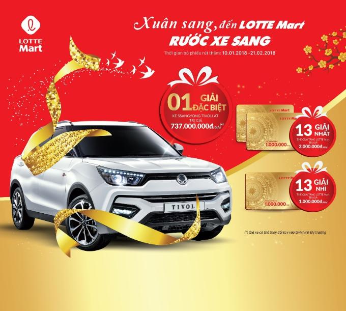 Khách hàng sẽ có cơ hội rước xe sang khi sắm Tết tại Lotte Mart.
