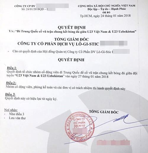 Một công ty tại TPHCM đã chi mạnh tay, đài thọ cho nhân viên của mình sang Trung Quốc để theo dõi trực tiếp trận đấu.