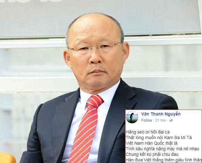 Thanh Vân Hugo đăng ảnh nhà cầm quân người Hàn Quốc và làm thơ tặng ông trước chung kết với Uzbekistan hôm 27/1 tới. Ảnh: FB.
