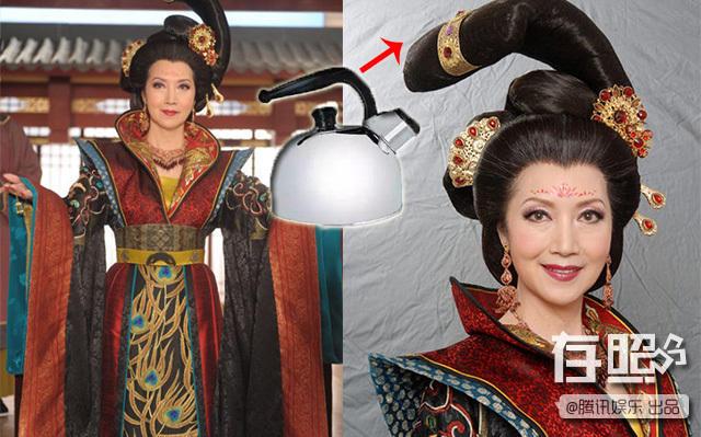 Tạ Tuyết Tâm khi đóng Cung Tâm Kế, người dùng mạng hài hước ví rằng tóc cô như cán của chiếc ấm siêu tốc.