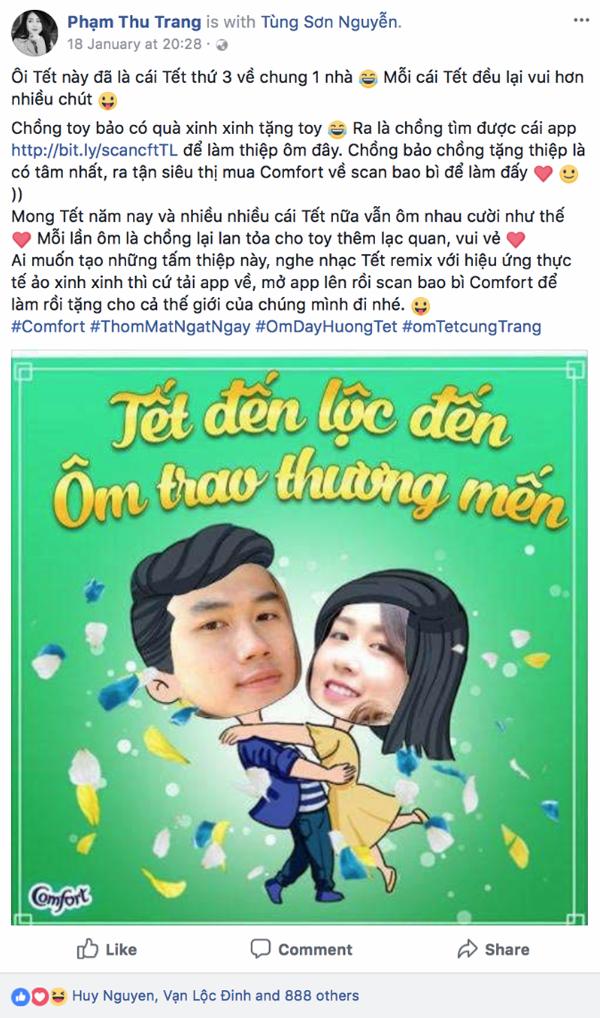 Gia đình Trang Lou cũng hào hứng chia sẽ hình ảnh trao ôm cho Tết này.