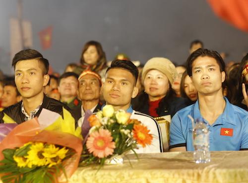 Phan Văn Đức; Phạm Xuân Mạnh; Nguyễn Công Phượng (từ trái qua phải). Ảnh: Quang Vinh.