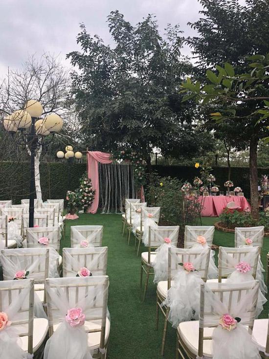 Khuôn viên khu vườn của nhà Thanh Hoa biến thành không gian cưới lãng mạn như cổ tích.