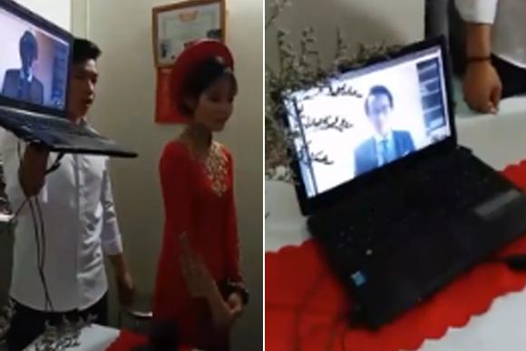 Cô dâu Việt và chú rể ở Nhật Bản tổ chức lễ ăn hỏi qua mạng