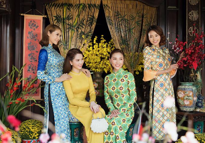 Áo dài họa tiếtgạch bông đang là xu hướng được nhiều sao Việt và khán giả yêu thích.