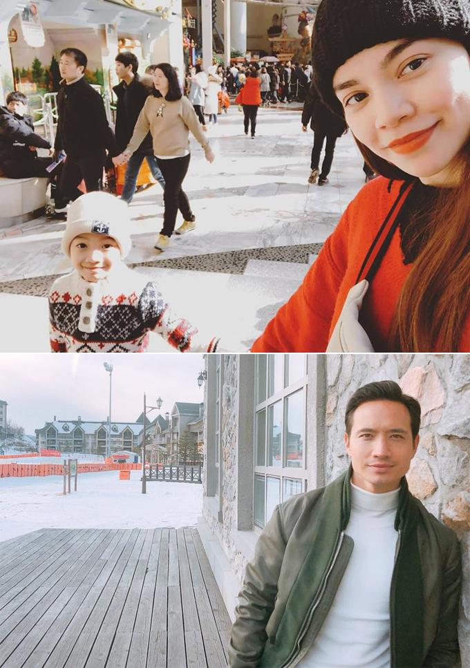 Tuy không chụp ảnh cùng nhau nhưng người hâm mộ dễ dàng nhận ra Hồ Ngọc Hà và Kim Lý đã hẹn hò nhau trong chuyến đi đầu năm ở Hàn Quốc. Lần này, nữ ca sĩ mang theo con trai Subeo và thamgia nhiều hoạt động ngoài trời như trượt tuyết hay vui chơi ở các công viên dành cho trẻ em.