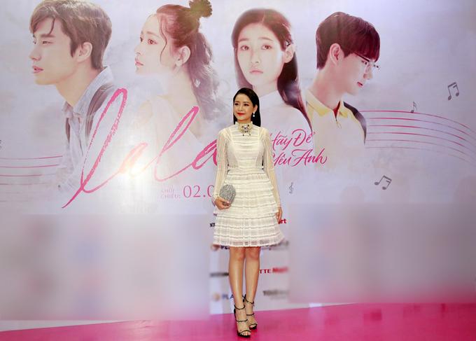 Chi Pu hào hứng dự lễ ra mắt phim Lala: Hãy để em yêu anh. Cô là diễn viên Việt Nam duy nhất tham gia bộ phim của Hàn Quốc.