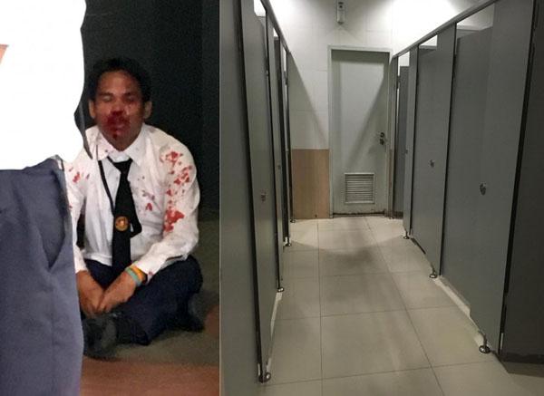 Tên bảo vệ đã bị bắt và giao cho cảnh sát sau khi hắn bị bắt quả tang có ý đồ đồi bại. Ảnh: Asia One
