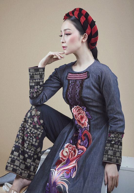 Linh Nga diện áo dài denim pha thổ cẩm của người Dao đỏ - 4