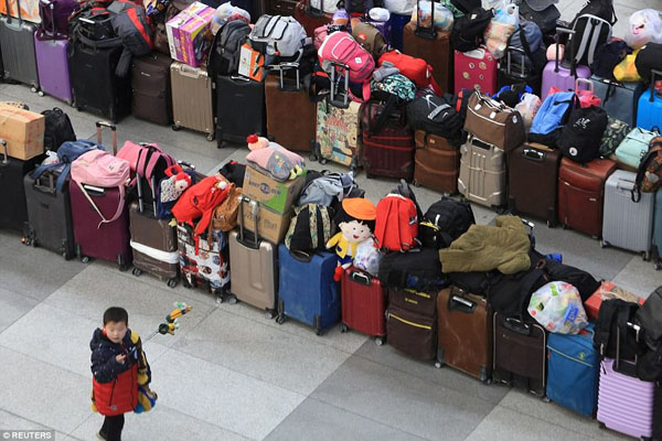 Bags and suitcases are seen at Shenyang North railway station as people travel for the Lunar New Year in Liaoning province