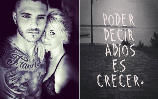 Bức ảnh tình tứ gần đây nhất của vợ chồng Icardi đăng tải hôm 12/1 (trái) và dòng chia sẻ ẩn ý