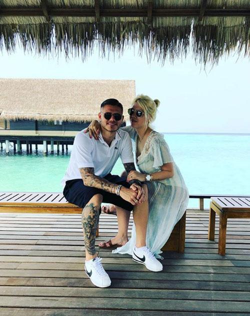 Icardi và Wanda trong kỳ nghỉ lãng mạn ở Maldives đầu tháng 1. Ảnh: Instagram.