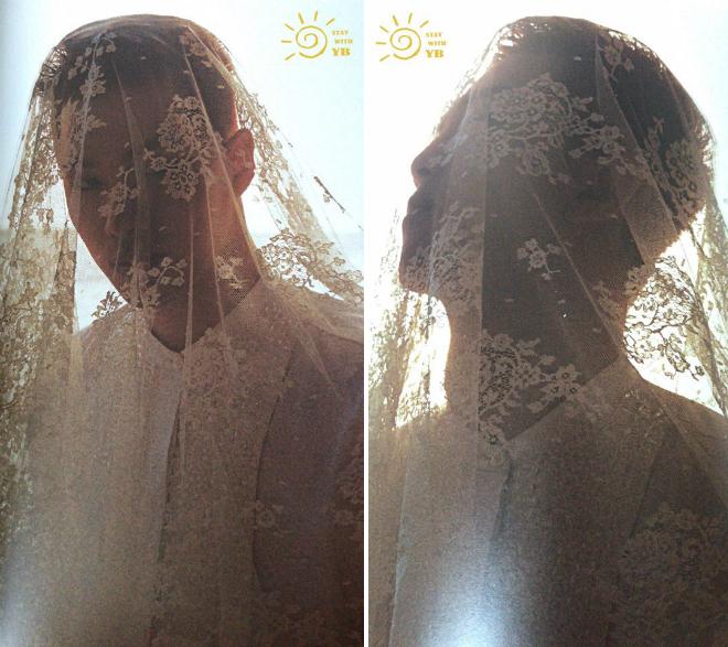 Chú rể Taeyang chơi trội khi đội khăn voan lên đầu. Anh là thành viên của nhóm nhạc nổi tiếng Big Bang. Hôn lễ của Taeyang và Min Hyorin sẽ diễn ra tại một nhà thờ trong Seoul vào chiều nay, 3/2, sau đó tiệc mừng được tổ chức tại khách sạn Paradise City. Thiết kế không gian chobuổi tiệc là Youngsong Martin - người từng dựng cảnh đám cưới trong rừng cho phim Chạng vạng.Chủ hôn cho cặpđôi là diễn viên Ki Tae Young.