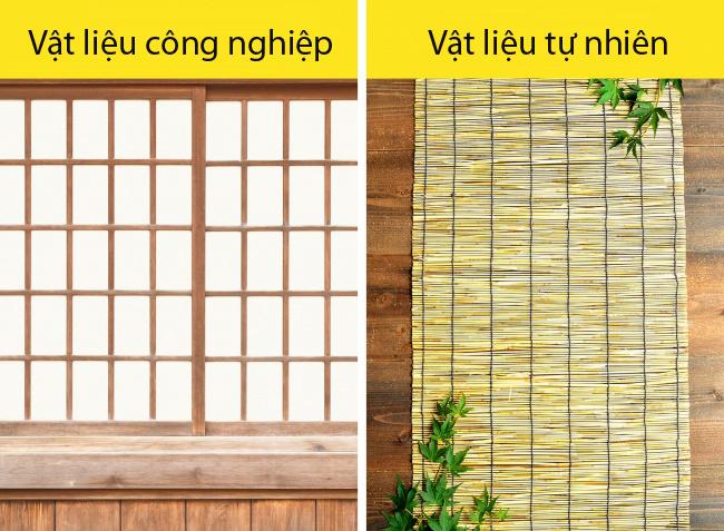 Sự gần gũi với thiên nhiên. Nhà của người Nhật thường có một khu vườn. Bạn có thể trông thấy vườn từ bên trong ngôi nhà chỉ với một thao tác là mở một tấm trượt gọi làshoji. Hôm nào trời đẹp,shoji sẽ luôn được mở ra. Sự gần gũi với thiên nhiên còn được thể hiện qua việc sử dụng những vật liệu tự nhiên như gỗ, tre, giấy gạo hoặc cotton. Người Nhật có một vài lý do khi thường sử dụng các vật liệu này. Đầu tiên, chúng rẻ hơn so với đá hoặc sắt. Kế đến, do Nhật Bản thường xuyên chịu ảnh hưởng của những trận động đất, việc xây dựng lại những ngôi nhà giấy như này sẽ dễ dàng hơn.