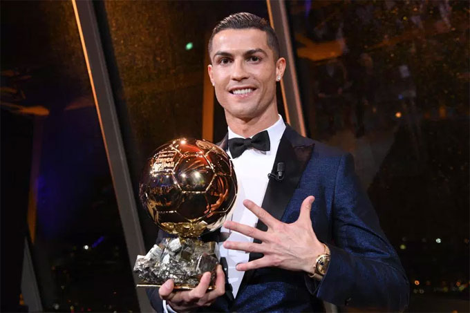 4. Winning the Ballon dOr for a fifth time Not only did Ronaldo reclaim the title of best player in the world by lifting the Ballon dOr trophy in December, 2017.  He also equaled the record of most wins set by Lionel Messi, who we dont need to tell you is his greatest nemesis.  The moment was sweet for Ron and he was clearly delighted to beat his nearest rival.