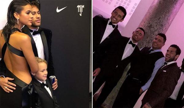 Con trai Davi Lucca của Neymar tham dự tiệc sinh nhật của bố (trái). Người ngoài hành tinh Ronaldo cũng là khách mời trong tiệc mừng tuổi mới của Neymar.
