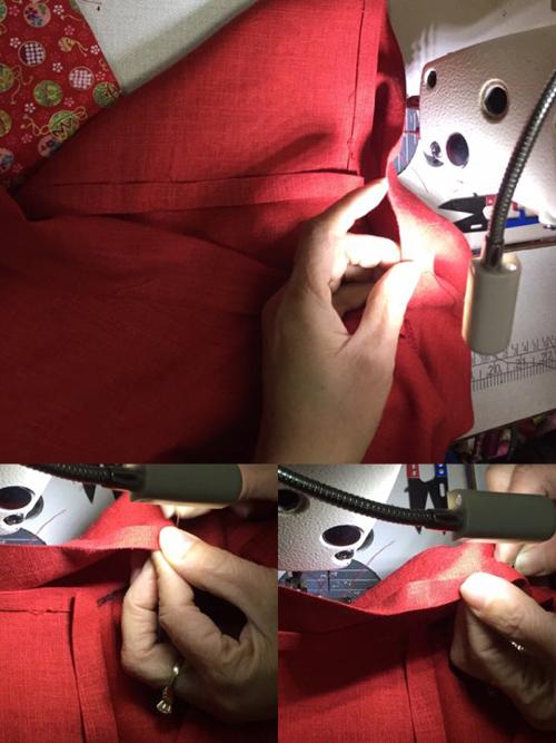 Để phần tà áo mềm mại, các mẹ nên khâu vắt tà (khâu giấu chỉ). Có thể áp dụng cách này để may áo dài người lớn, áo dài mẹ - con.