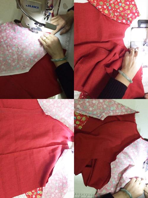 Tiến hành may ghép phần ống tay vào mảnh thân trước của áo, sau đó đến mảnh thân sau.