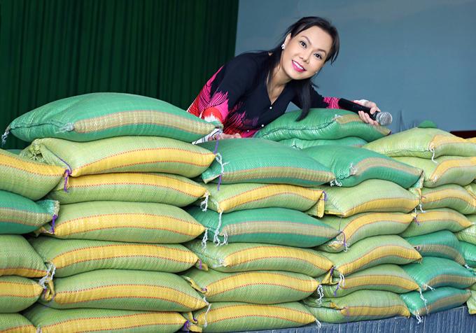 Việt Hương chuẩn bị rất nhiều phần quà là những nhu yếu phẩm như gạo, nước tương, nước mắm, bánh kẹo để tặng bà con nghèo ở miền Tây Nam Bộ.