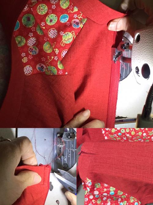 Vào khóa kéo là phần khó nhất khi thực hiện may áo dài. Các mẹ nên khâu lược bằng tay trước khi may hoặc nhờ thợ khâu vào giúp.