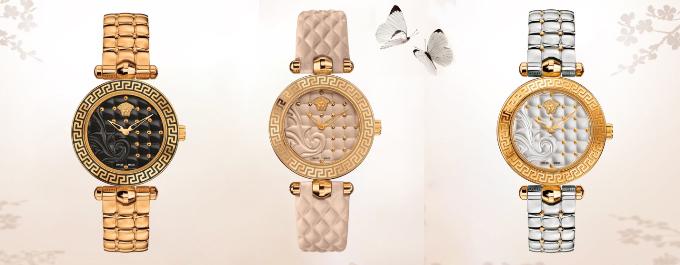 Vẻ đẹp thời thượng và phá cách của đồng hồ Versace cuốn húthàng triệu cô nàng fashionista.Nhân dịp ngày lễ Tình nhân, Like Watch ưu đãi lớn cho phái đẹp. Theo đó,Versace Vanitas VQM050015 giá55,1 triệu đồng; Versace Vanitas VQM040015 giá46,8 triệu đồng; Versace Vanitas VQM110016 giá52,3 triệu đồng.