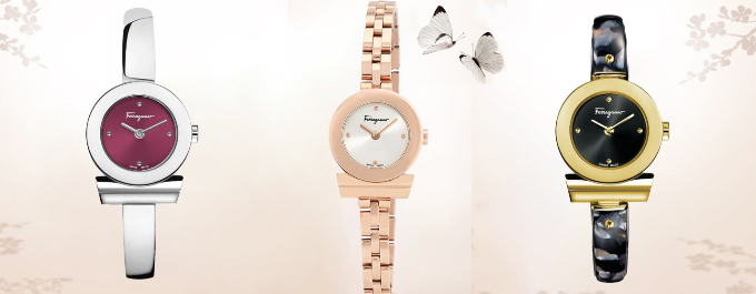 Những mẫu đồng hồ Salvatore Ferragamo tinh tế mang đến cho nữ chủ nhân phong cách sang trọng và đẳng cấp. Ferragamo Gancino FQ5090016 giá21,9 triệu đồng; Ferragamo Gancino FBF040016 giá23,3 triệu đồng; Ferragamo Gancino FII090016 giá30,2 triệu đồng.